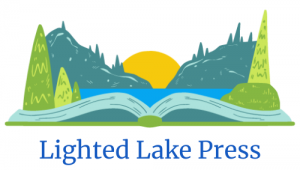 Drawing of a sun on the horizon shining over hills and a lake. Foreground shows trees on the near side of the lake, which is drawn as an open book instead of grassy ground.